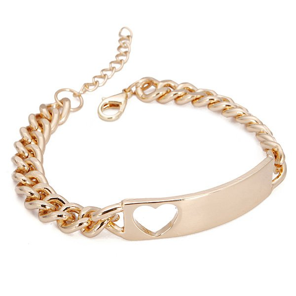 buy gold plated hollow heart tag bracelet chunky metal