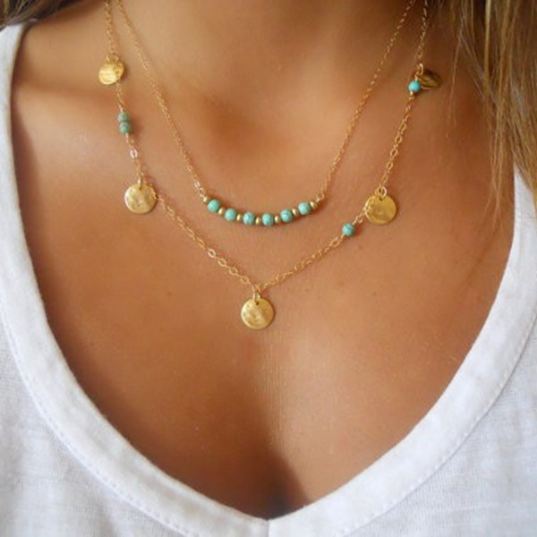 Buy Gold Silver Sequin Turquoise Beads Double Chain