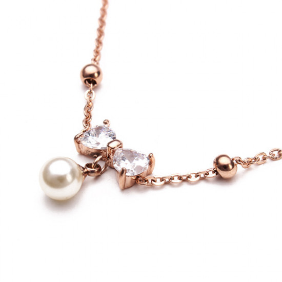 Titan Stahl Perlen Kristall Bowkont Fußkettchen 18K Rose Gold überzogen 2021