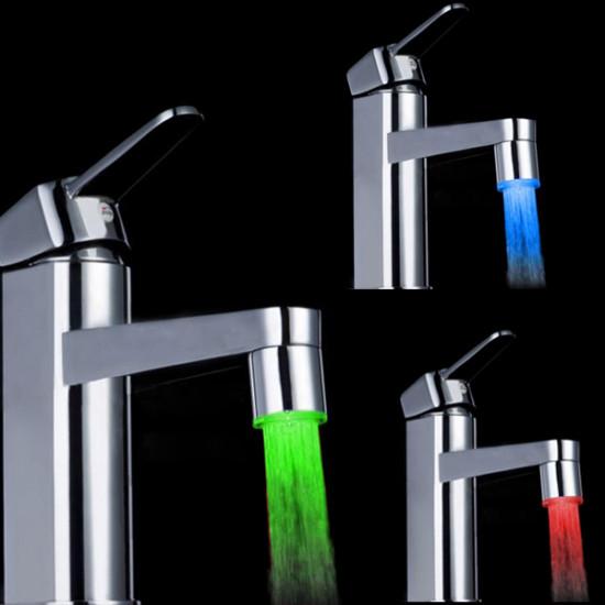 10X 7 Färg Skiftande LED Kran Färg Skiftande Vatten Ljus Silver 2021