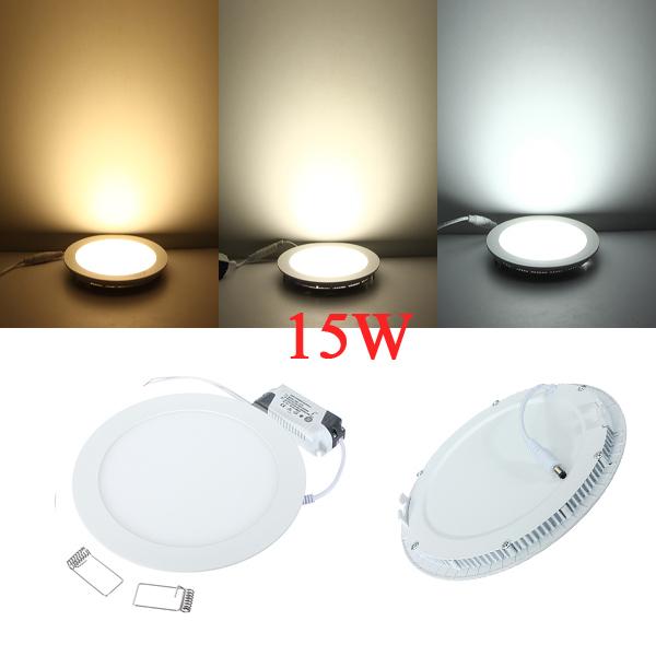 k b 15w runde ceiling ultratynd panel led lampe downlight lys 85 265v. Black Bedroom Furniture Sets. Home Design Ideas