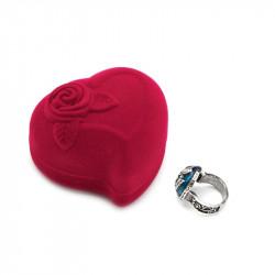 Roter Samt Herz Runde Schmuck Box Ring Ohrringe Vitrine