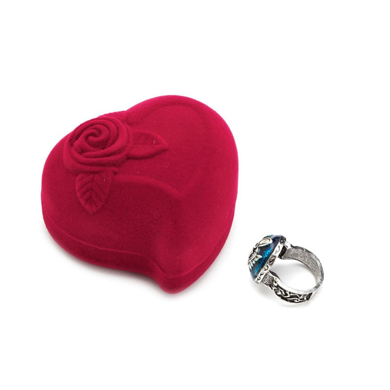 Red Velvet Heart Round Jewelry Box Ring Earrings Display Case Supplies