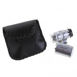60X Pocket Mikroskop Smykker Forstørrelsesglas Lup LED Lys