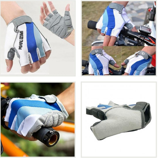 Bicycle Bike  Silicone Comfortable Half Finger Fingerless Gloves Blue 2021