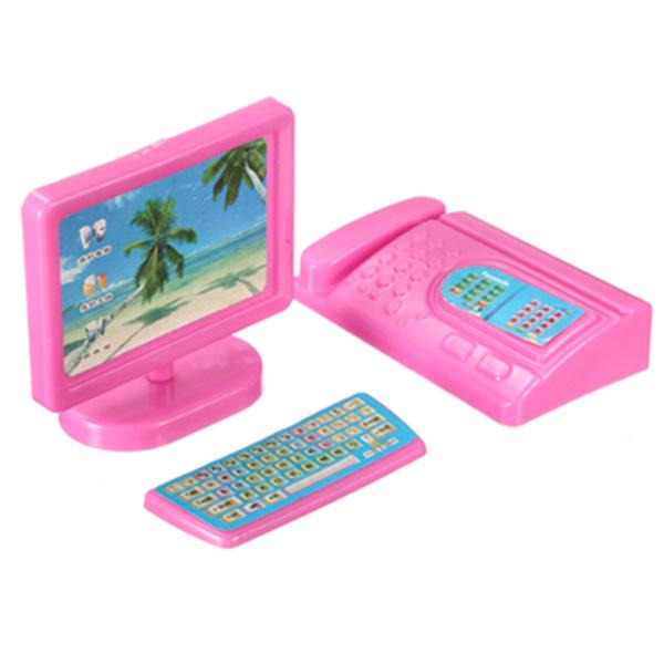 g nstig kaufen miniature pink computer faxger t m bel f r barbie puppenhaus online. Black Bedroom Furniture Sets. Home Design Ideas