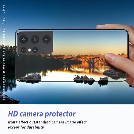 2st Samsung Galaxy S21 Ultra Camera Black Reptålig Metal Circle Ring Kameralinsskydd 2021
