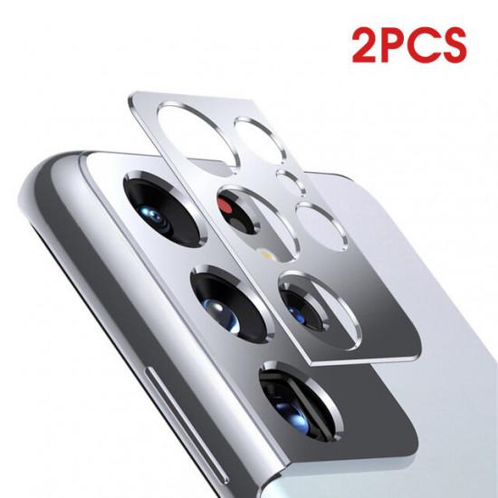 2st Samsung Galaxy S21 Ultra Camera Silver Reptålig Metal Circle Ring Kameralinsskydd 2021