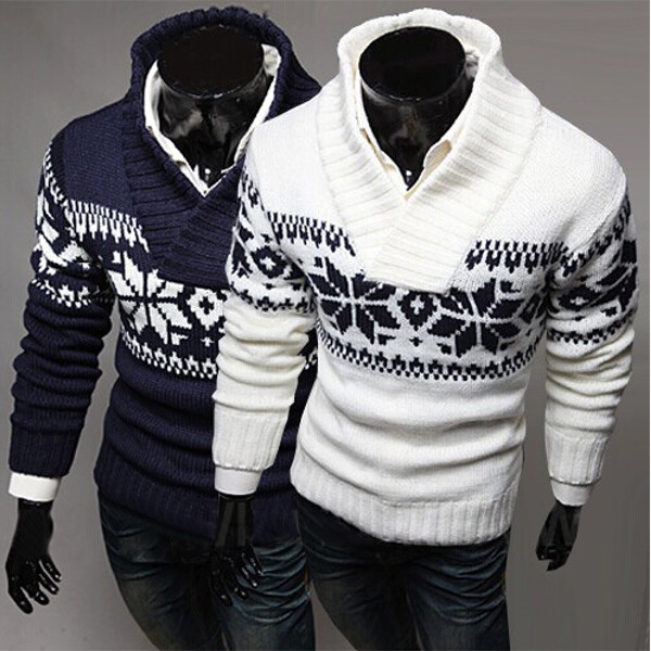 Buy Christmas Mens Snowflake Turtleneck Pullover Thickening