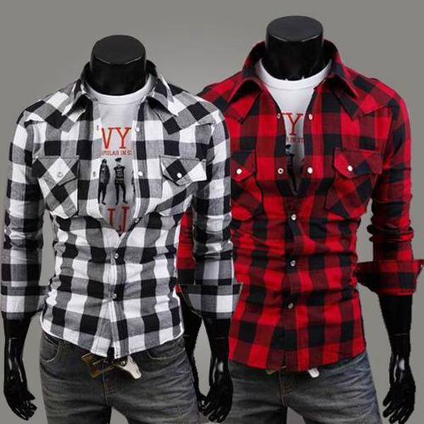 a75584052441b Buy Men Casual Shirt Long Sleeve Checks Patterns Tops Shirts ...