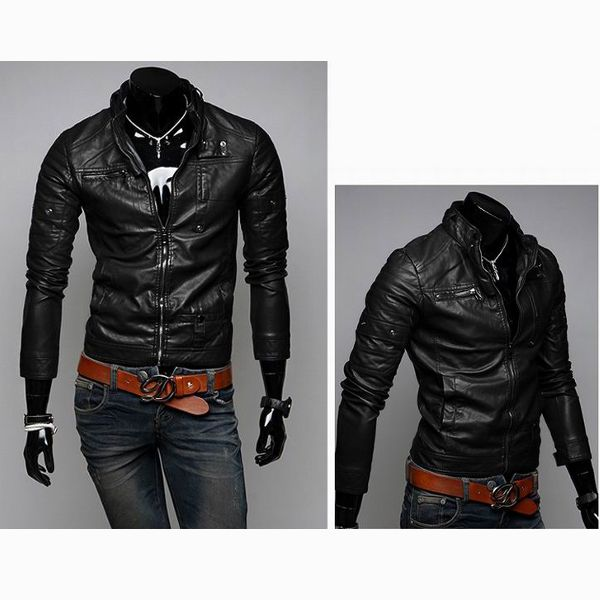 Buy Men Casual Slim Short Style Fashion Washed Motorcycle Leather Jacket Bazaargadgets Com
