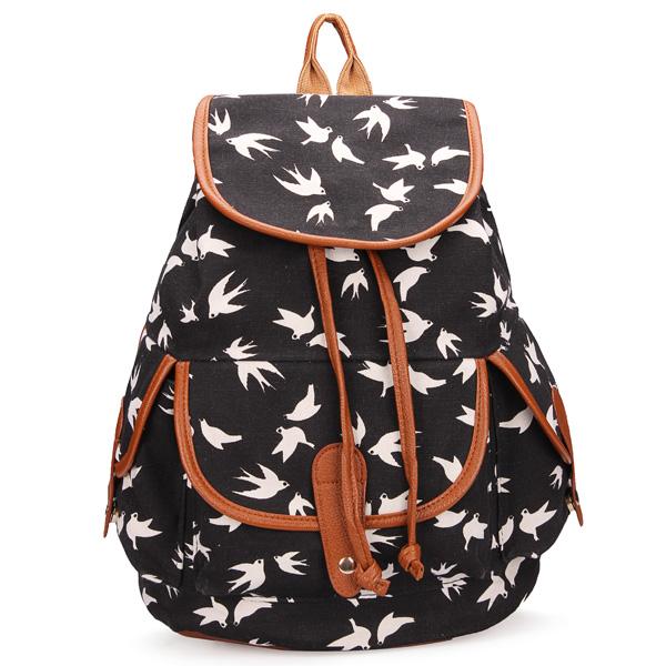 Buy Girl Vintage Casual Drawstring Travel Canvas Backpack School ...