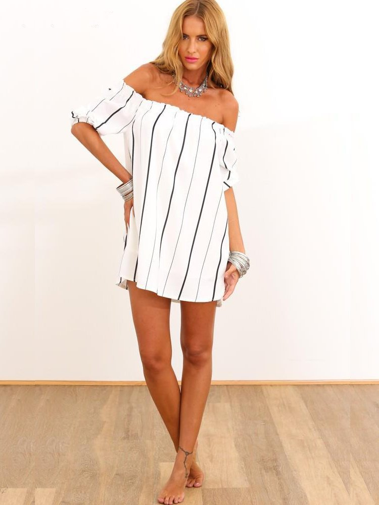 d1be2011848a Off The Shoulder Vertical Striped Casual Dress Sexy White And Black Dresses