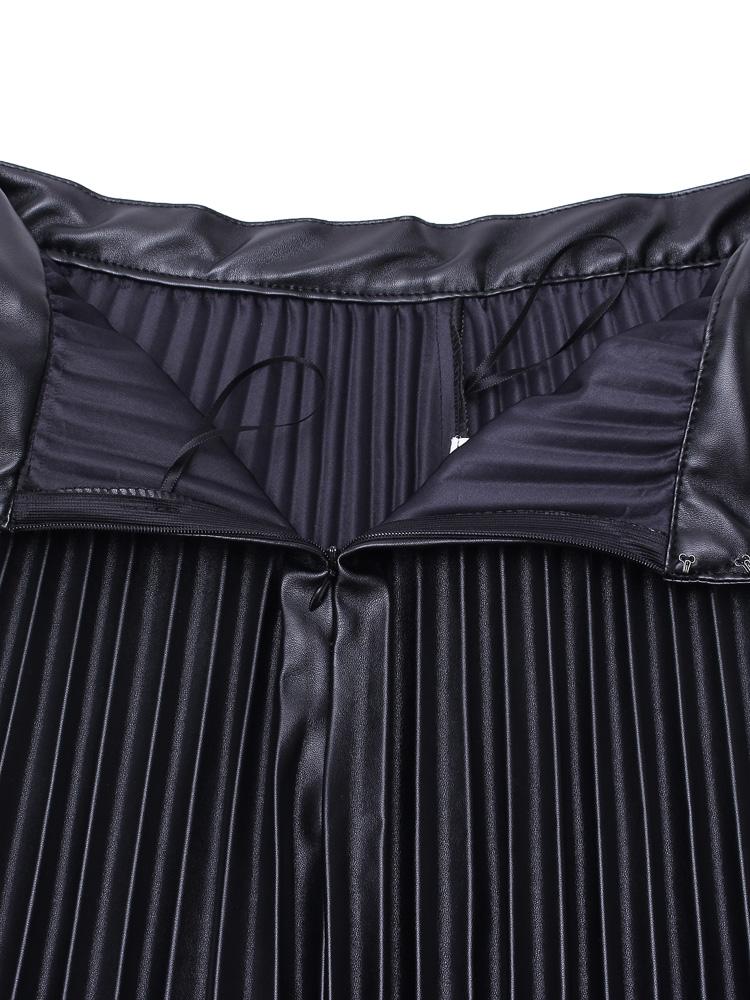 Køb Kvinder Elegant PU Plisseret Nederdel A-line High Waist Nederdel