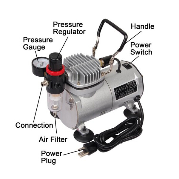 Buy 1/6 HP Mini Air Compressor Airbrush Set Tattoo Model