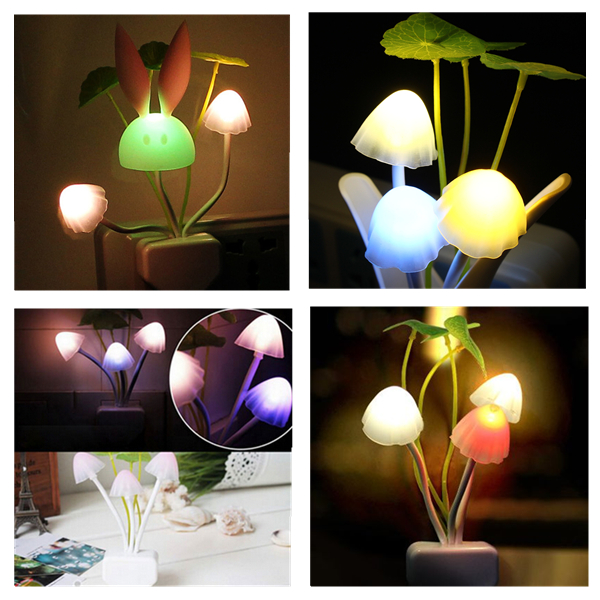 Romantic Colorful Sensor LED Mushroom Night Light Wall Lamp Home Decor US Plug
