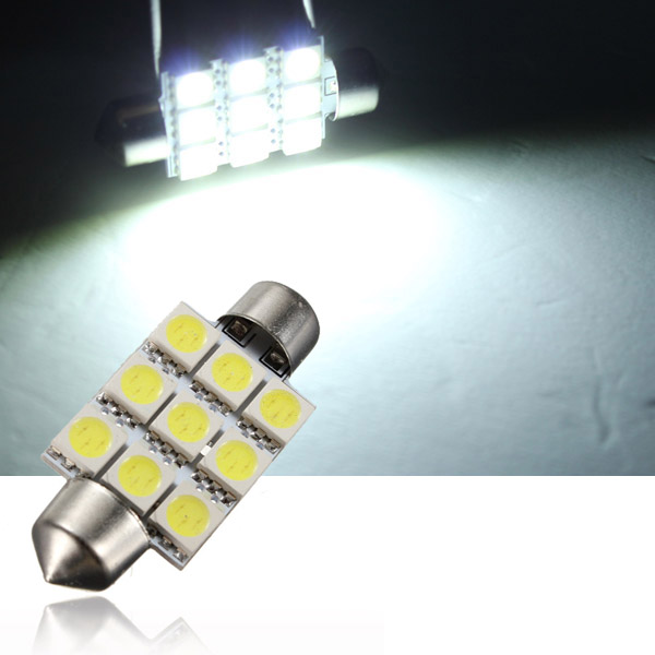 buy 10x 39mm 9smd 5050 led white festoon dome car interior light bulb. Black Bedroom Furniture Sets. Home Design Ideas