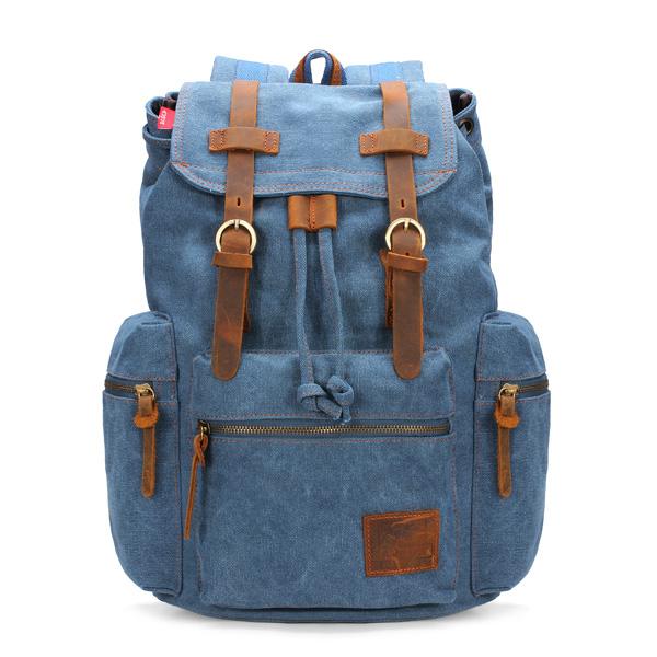 Køb Mænd Vintage Rygsæk School Bag Satchel Canvas Rygsæk Vandring Taske | BazaarGadgets.com