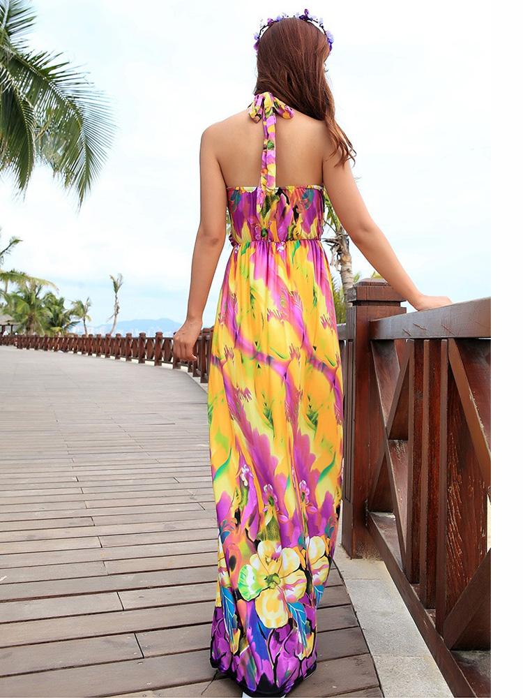 buy bohemian halter v neck floral beach maxi dress. Black Bedroom Furniture Sets. Home Design Ideas