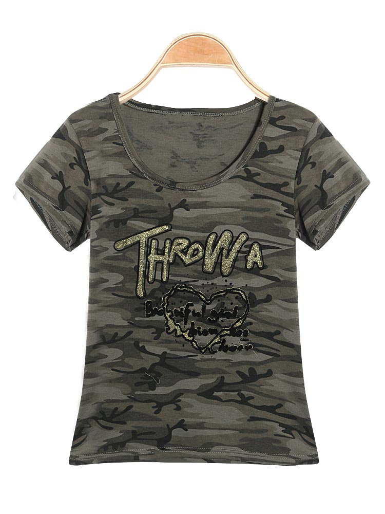Buy Camouflage Army Green Short Sleeve Round Neck Printing