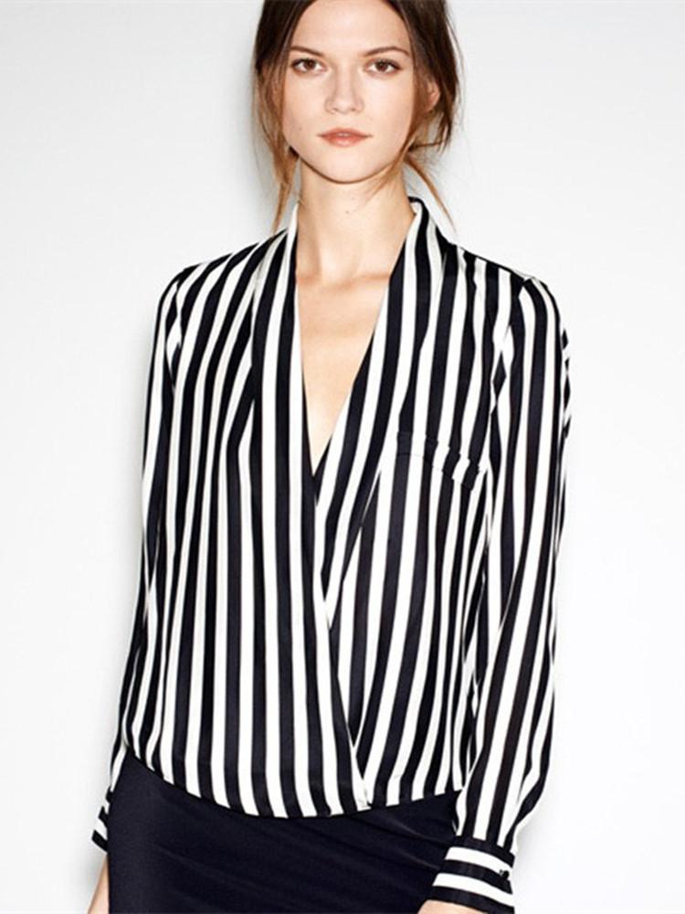 Buy Deep V Collar Long Sleeve Black White Stripe Chiffon