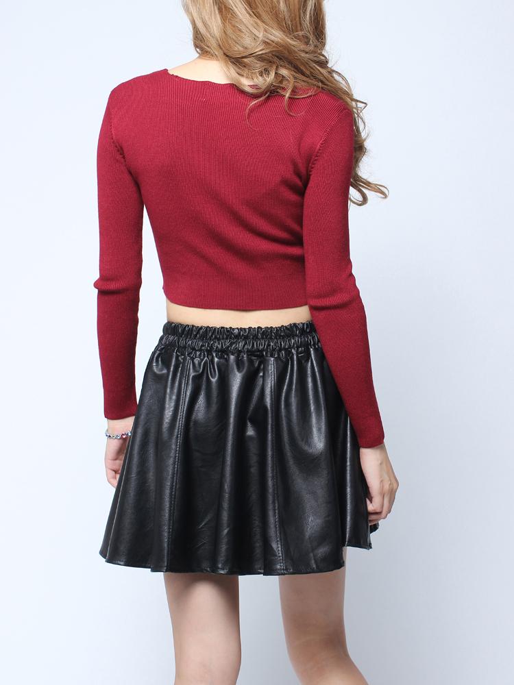 Buy Elastic High Waist Pu Leather Skirt Fold Short Skirt