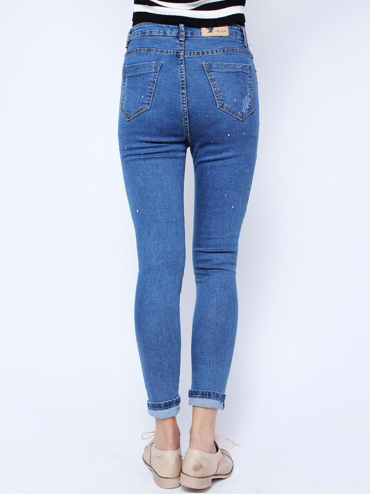 Buy Fashion Casual Blue Denim Battered Holes Long Trousers Pants Jeans   BazaarGadgets.com