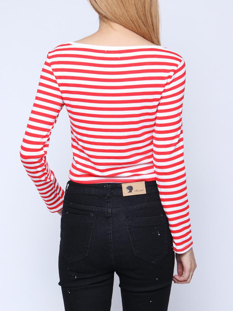 Standard Shipping Tracking >> Buy Fashion Stripped Long Sleeve Women O Neck Spandex T-shirts | BazaarGadgets.com