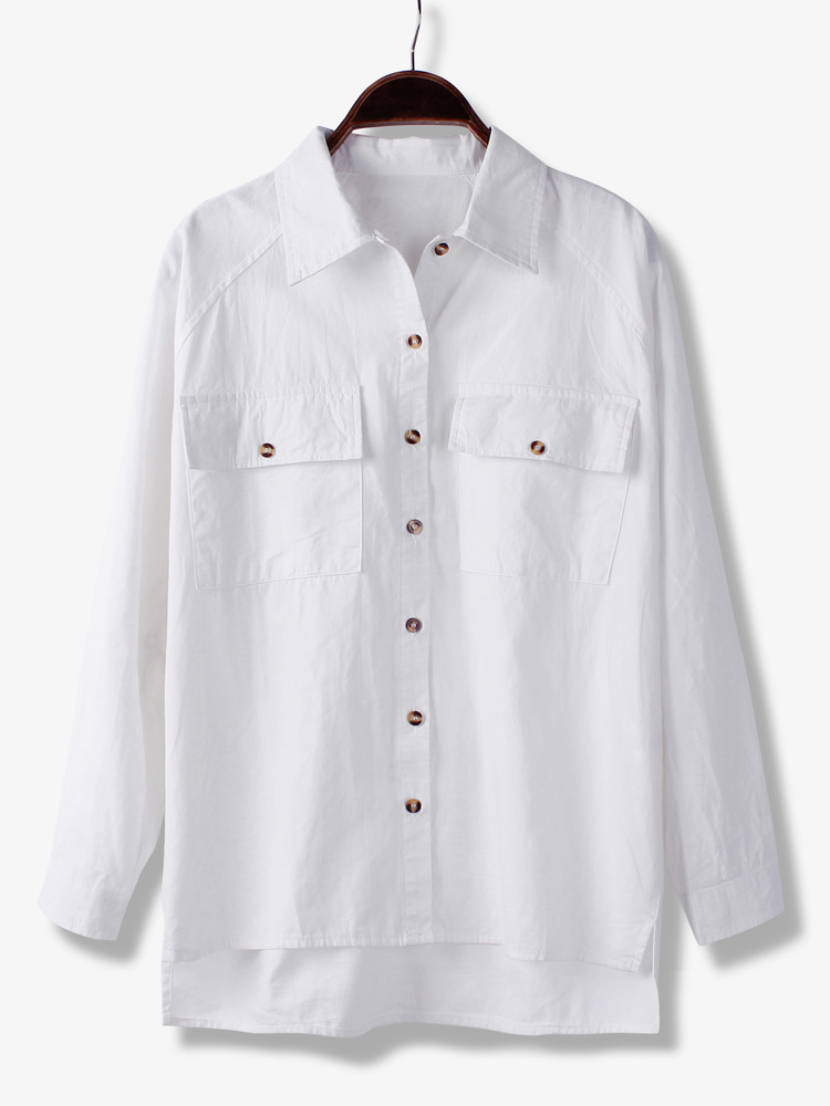 Buy long sleeve solid color front short back long cotton for Solid color short sleeve dress shirts