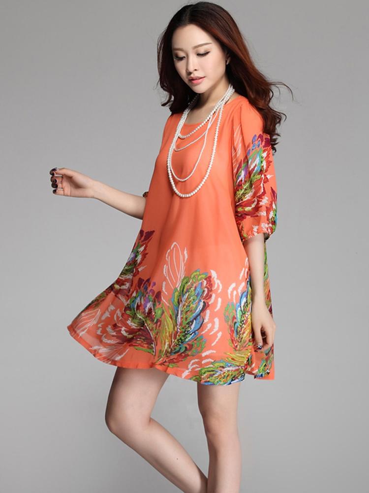 Buy Women Floral Print Chiffon Half Sleeve Loose Plus Size ...