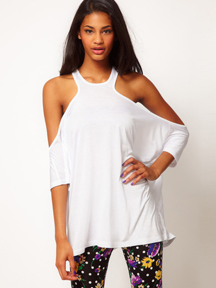 Buy women sexy off shoulder backless half sleeve t shirt for Full sleeve t shirts online