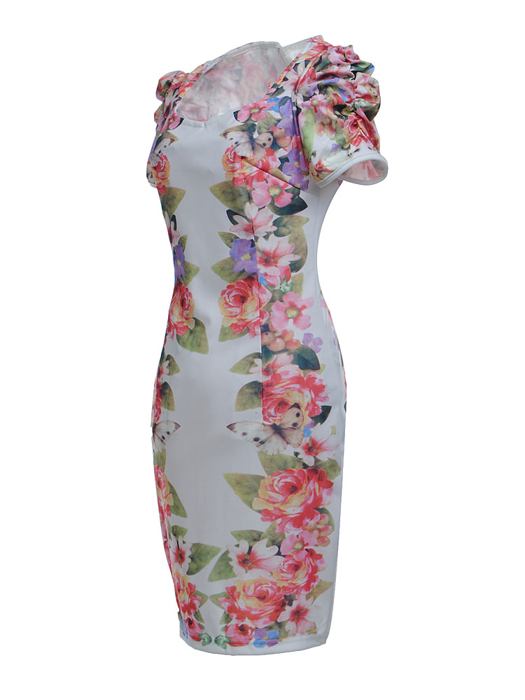 Buy women sexy slim fit short sleeve floral cocktail evening dress