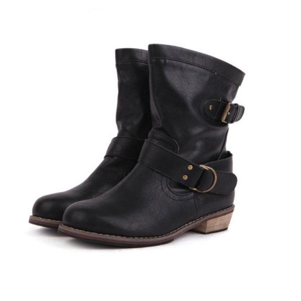 Buy Ladies Flat Heel Vintage Buckle Ankle Motorcycle Boots