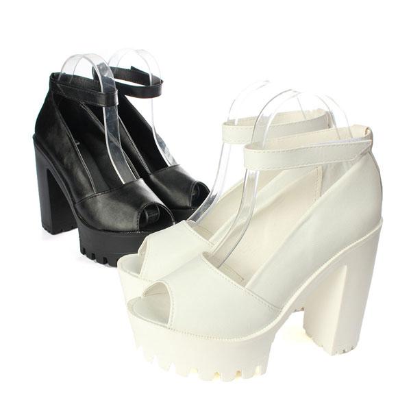 Buy women sexy pump sandal high heel open toe velcro fish for Fish head shoes