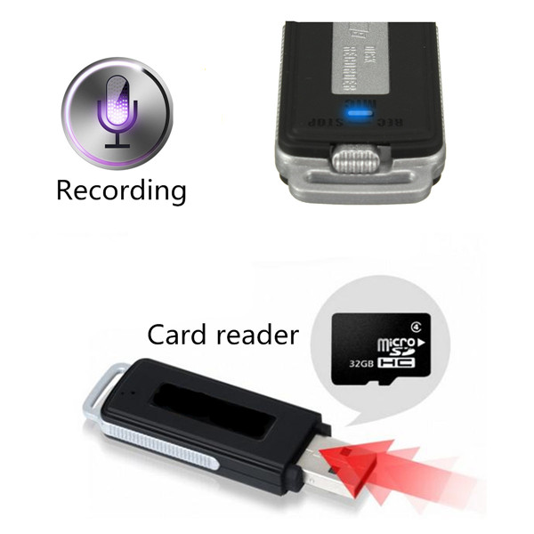 Køb USB 2.0 Digital 1-32GB Audio Voice Optager Card Reader Disk Pen Blitz Drive | BazaarGadgets.com