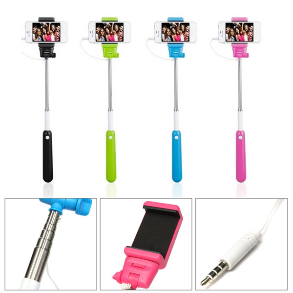 buy handheld wire remote control monopod selfie stick with bag for iphone 5c. Black Bedroom Furniture Sets. Home Design Ideas