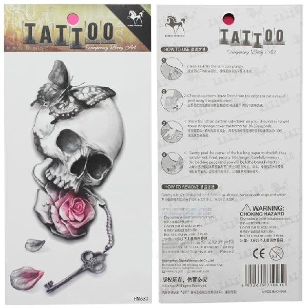 K p tillf llig skull tatuering transfer body art for Tattoo artist job description