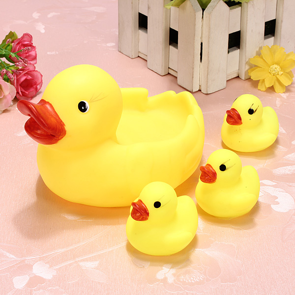 Toy Duck Race : Buy baby bathing toys water floating squeaky yellow rubber