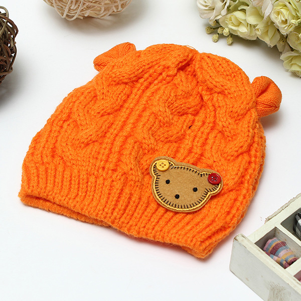 Knitting Labels Canada : Buy baby children knitting wool hats cartoon label bear