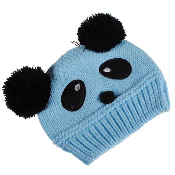 Buy Baby Dual Ball Panda Hat Wool Knitted Crochet Beanie