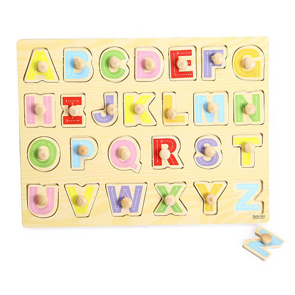 Buy Knob Wooden Letter Alphabet Peg Puzzle Kids Education