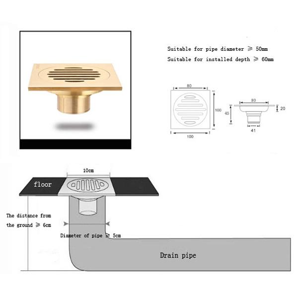 Bathroom Floor Drain Types : Buy brass solid t type floor filler anti odor bath