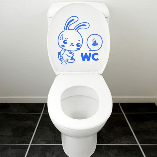 Buy wc rabbit toilet cover sticker removable closestool seat decor - Decor wc ...