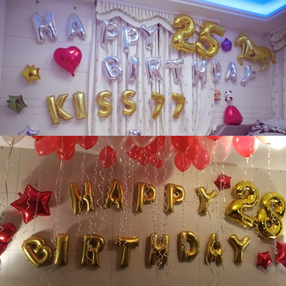 Buy Gold Silver Number Foil Balloon Wedding Birthday Party