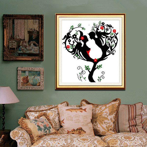 Buy 55x57cm diy needlework love tree cross stitch kit home for Home decor 2 love