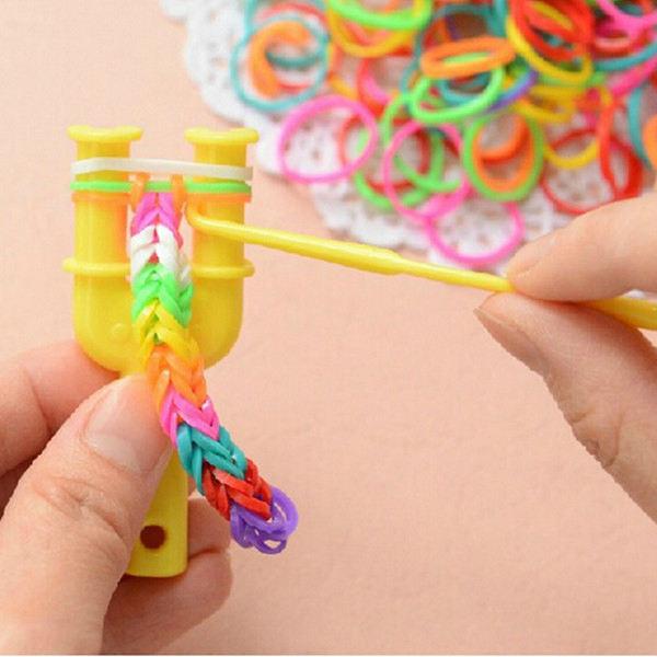 Buy 100pcs Mixed Color Mini Plastic Hooks Diy Loom Bands