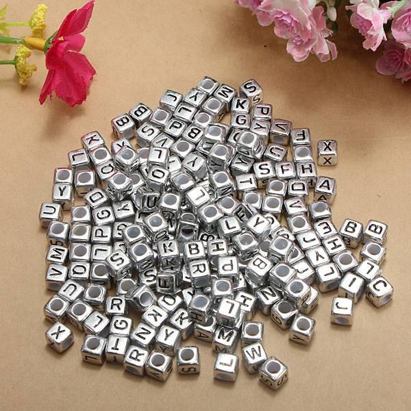 Buy 200pcs 6mm Silver Acrylic Letter Alphabet Beads Diy