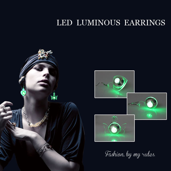 Color Led Earrings Light Up Glowing Studs Ear Ring Drop: Buy 1Pc Light Up Blinking LED Round Dangle Earring Dance