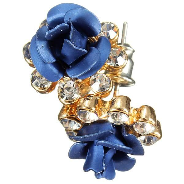 g nstig kaufen kristallrhinestone blaue rosen blumen ohr. Black Bedroom Furniture Sets. Home Design Ideas