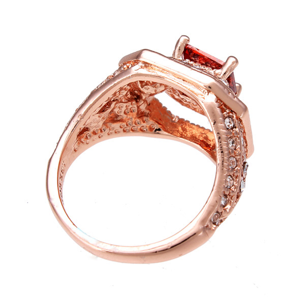 Buy Crystal Rose Gold Plated Zircon Ruby Engagement Ring